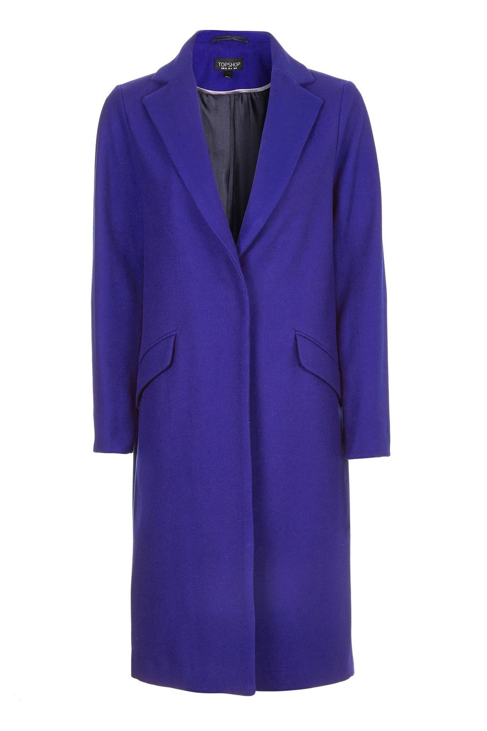 TOPSHOP PURPLE FLURO WOOL COAT
