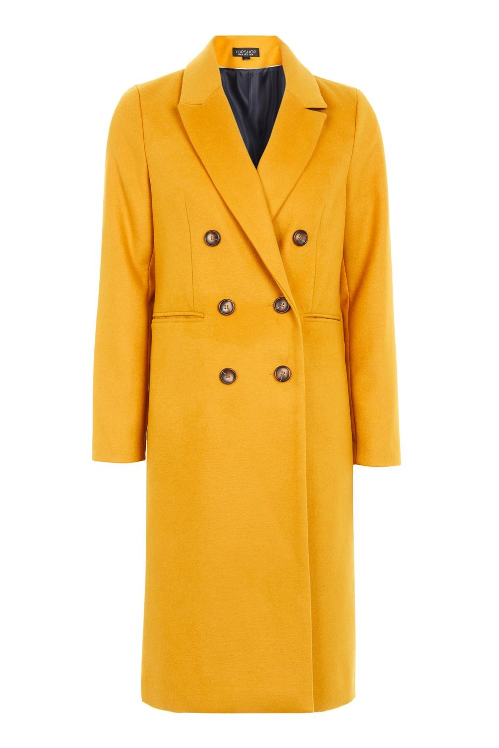TOPSHOP LONGLINE YELLOW BREASTED COAT