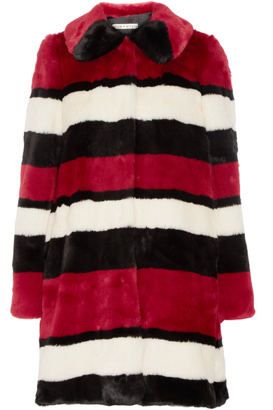 ALICE + OLIVIA 'KINSLEY' OVERSIZED STRIPED FAUX FUR COAT