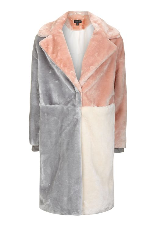 TOPSHOP PATCHWORK FAUX FUR COAT