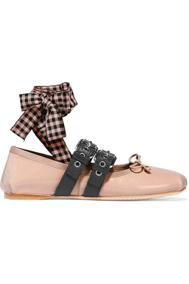 MIU MIU LACE UP BALLET FLATS