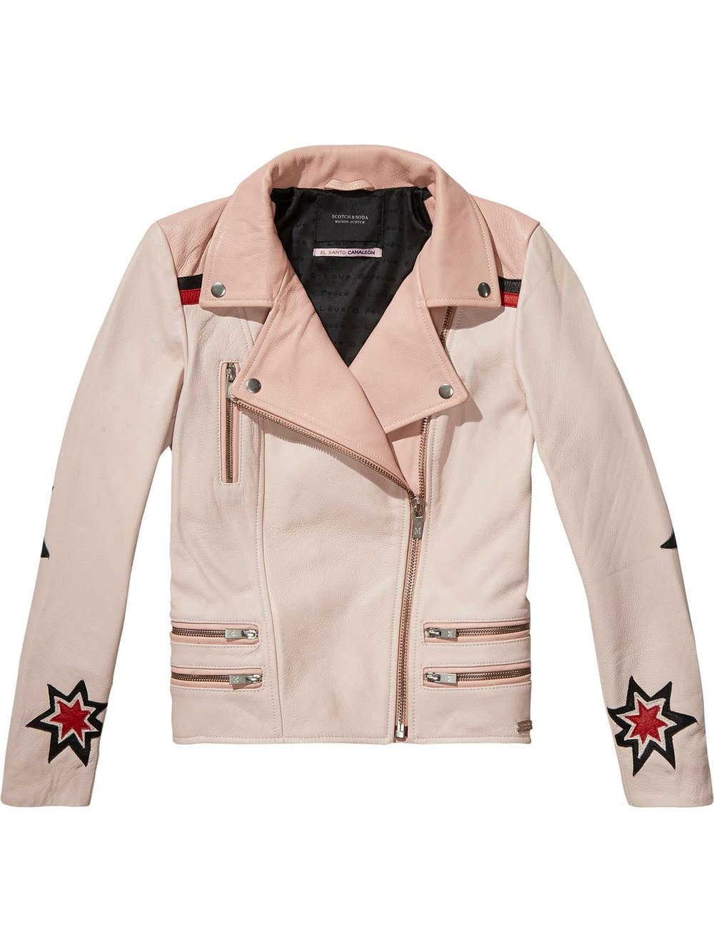 SCOTCH & SODA LEATHER EMBROIDERED STATEMENT COAT