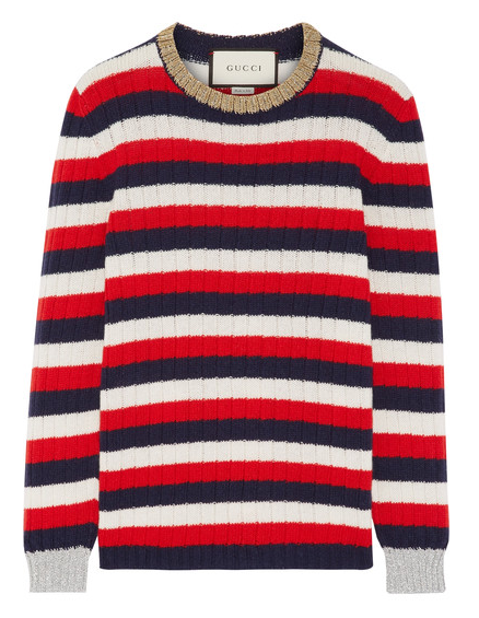 GUCCI METALLIC TRIM STRIPED SWEATER