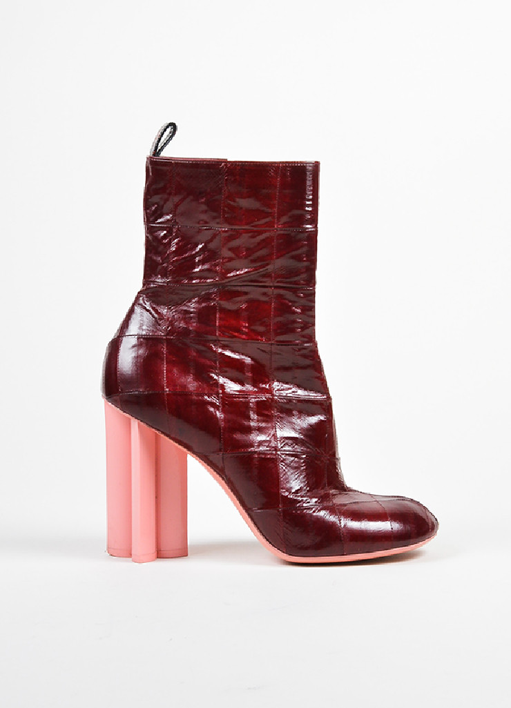 LOUIS VUITTON DARK RED BOOT WITH PINK HEEL