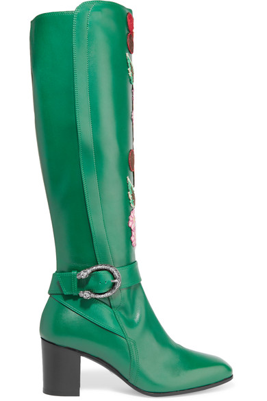 GUCCI EMBROIDERED GREEN LEATHER BOOTS