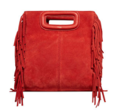 MAJE RED FRINGE SUEDE 'M' BAG