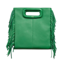 MAJE GREEN FRINGE 'M' BAG
