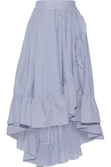 MAJE WRAP-EFFECT RUFFLED STRIPED POPLIN MIDI SKIRT