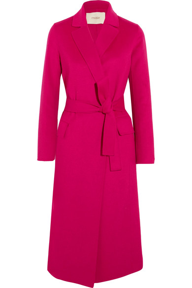 MAJE BELTED WOOL-BLEND FELT COAT IN FUSCHIA