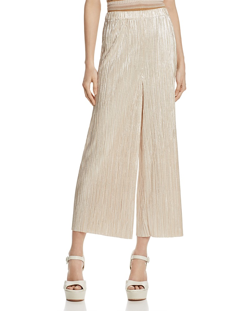 ALICE AND OLIVIA 'ELBA' METALLIC PLISSE CULOTTES