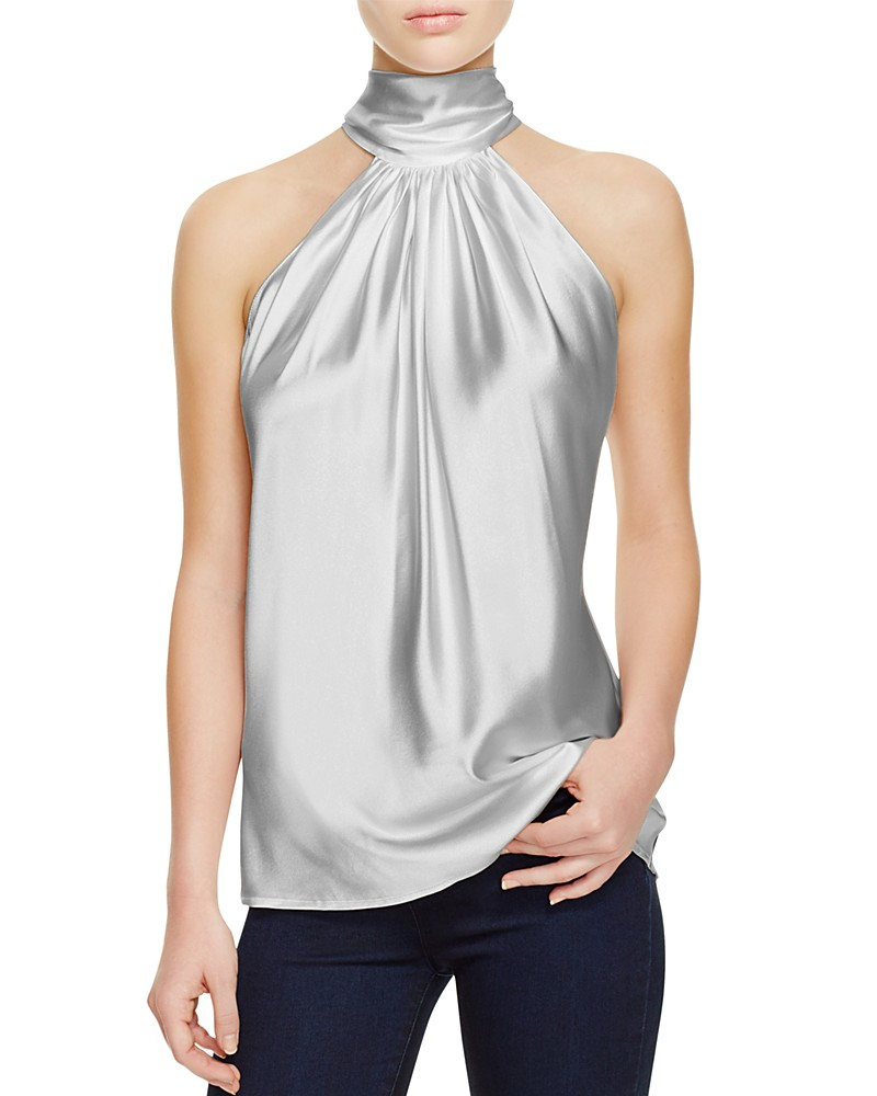 RAMY BROOK PAIGE TIE NECK SILK TOP