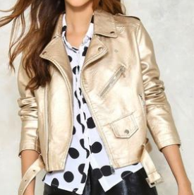 NASTY GAL GOLD LEATHER JACKET