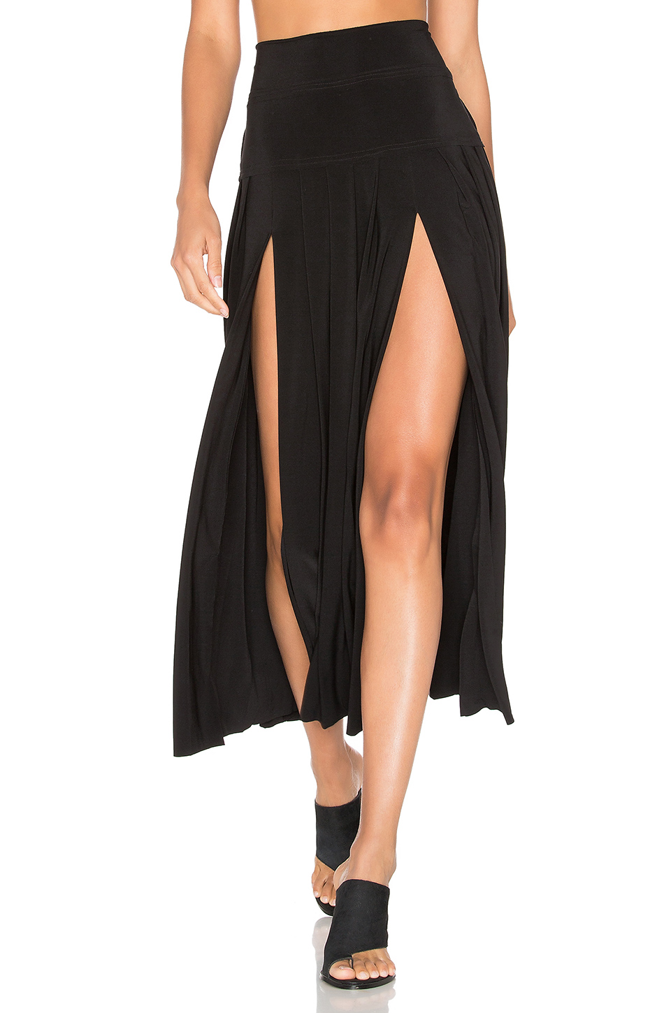 NORMA KAMALI BLACK PLEATED SKIRT WITH SLITS