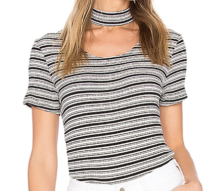 MONROW STRIPED CHOKER TEE