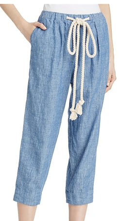 EVERYDAY CHAMBRAY CROPPED DRAWSTRING PANTS