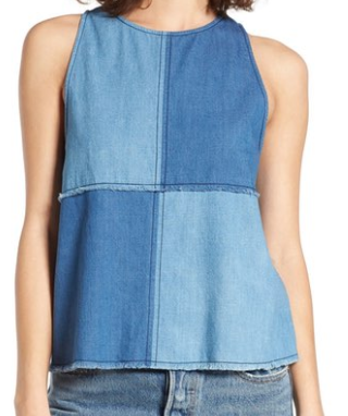 BP. DENIM PATCHWORK TANK