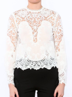 LUCY PARIS CROPPED WHITE LACE BLOUSE