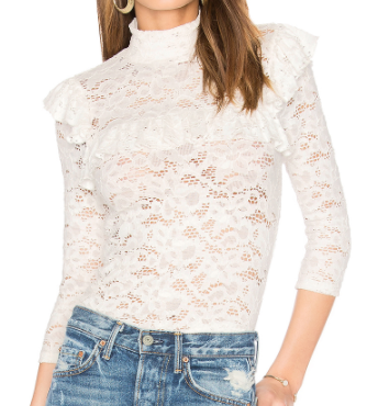 SMYTHE WHITE LACE RUFFLE TOP