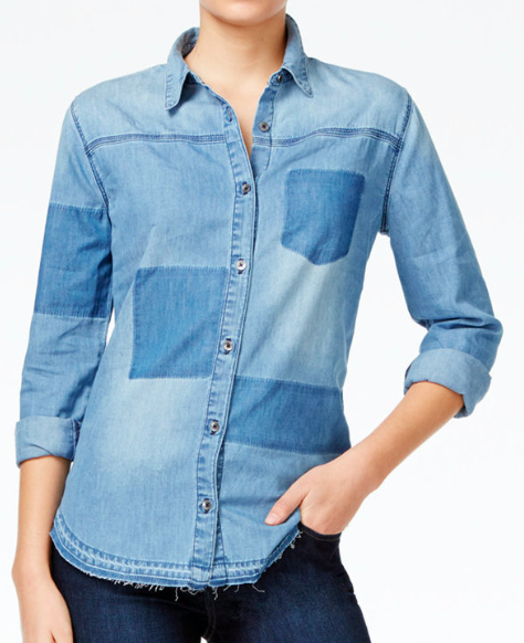 JOE'S JEANS PATCHWORK DENIM SHIRT