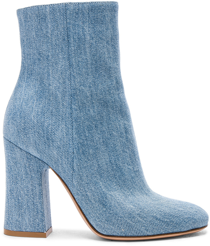 GIANVITO ROSSI DENIM SHELLY BOOTIES