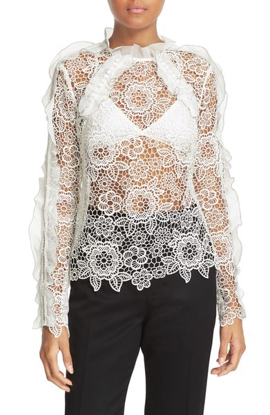 SELF PORTRAIT WHITE FLORAL LACE TOP