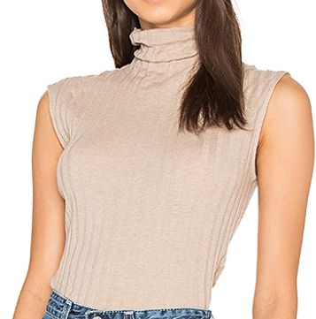 ENZA COSTA CASHMERE RIB SLEEVELESS TURTLENECK SWEATER
