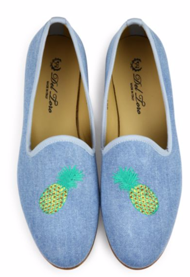 DEL TORO PINEAPPLE DENIM LOAFERS