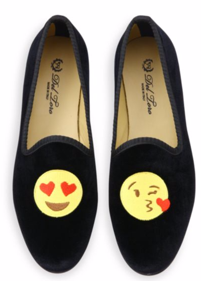 DEL TORO EMOJI KISS VELVET SMOKING LOAFERS