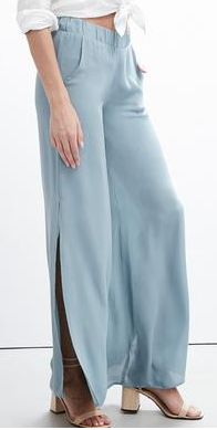 KRISA LIGHT BLUE SIDE SLIT PANTS