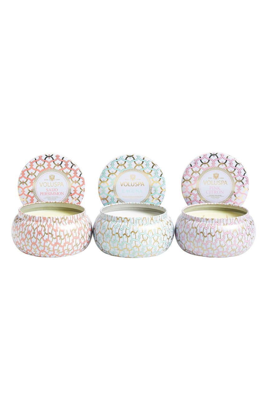 VOLUSPA MAISON BLANC TWO WICK TIN CANDLE TRIO