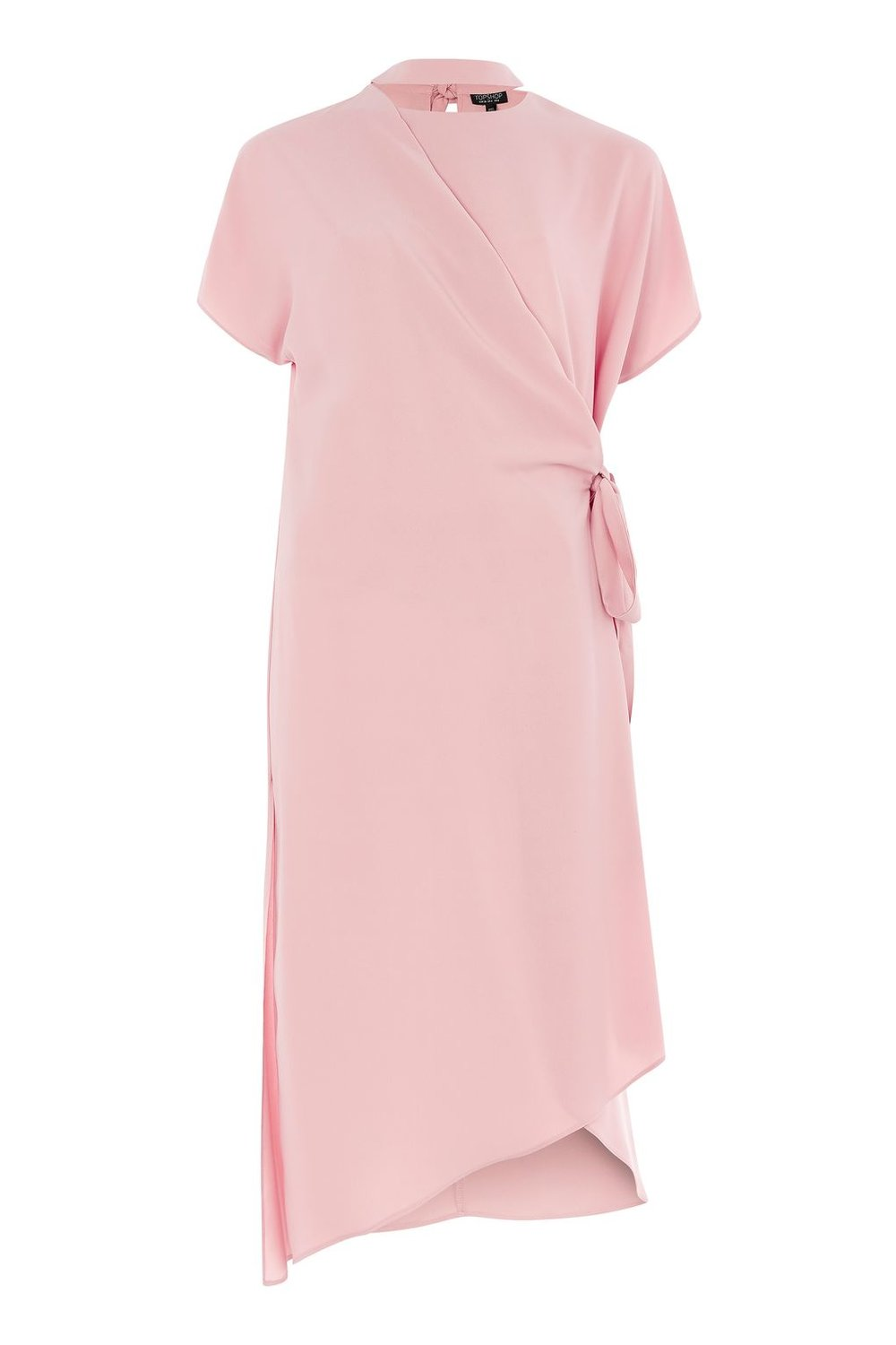 TOPSHOP SLASH NECK WRAP MIDI DRESS