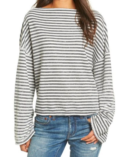TREASURE & BOND STRIPED SLOUCHY PULLOVER