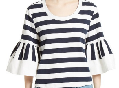 SEE BY CHLOE 'STRIPE JERSEY BELL SLEEVE' TOP