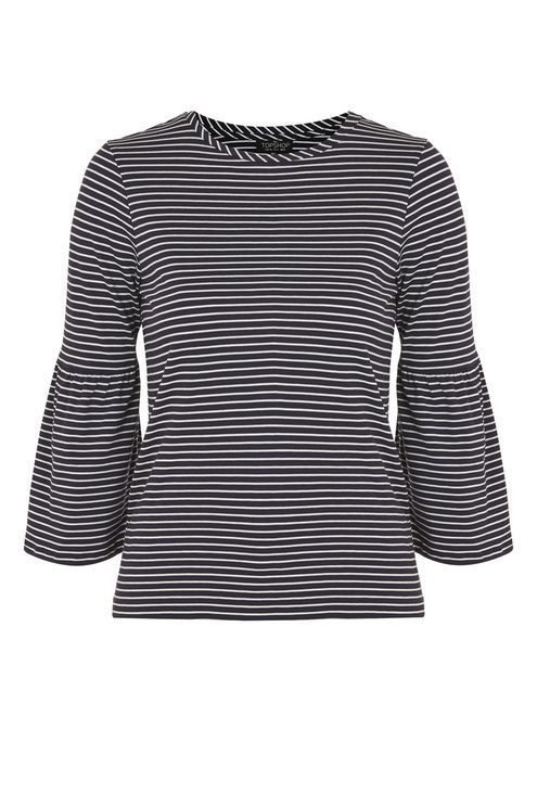 TOP SHOP STRIPE BELL SLEEVE T-SHIRT