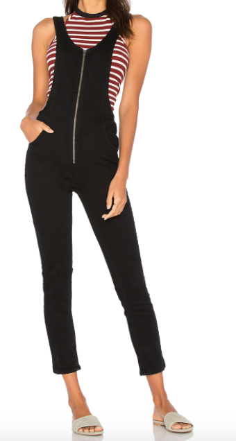 FREE PEOPLE BLACK 'JAX' ZIPPED ONE PIECE