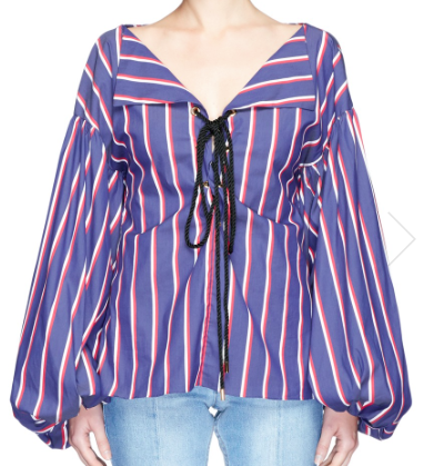CAROLINE CONSTAS OLYMPIA STRIPE PUFF SLEEVE LACE UP BLOUSE