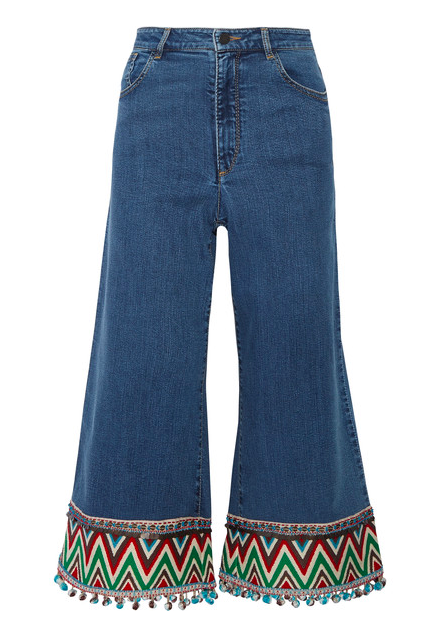 ALICE + OLIVIA 'BETA' CROPPED EMBROIDERED JEANS