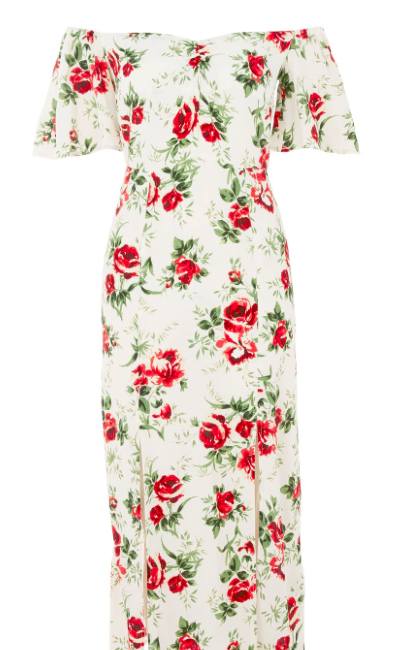 TOP SHOP 'ROSE PRINT BARDOT' MIDI DRESS