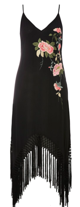 TOP SHOP 'EMBROIDERED FRINGE' SLIP DRESS