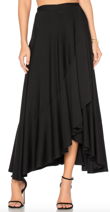 RACHEL PALLY BLACK RUFFLE WRAP SKIRT