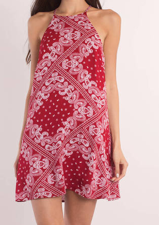 TOBI BANDIT RED MULTI BANDANA PRINT SHIFT DRESS