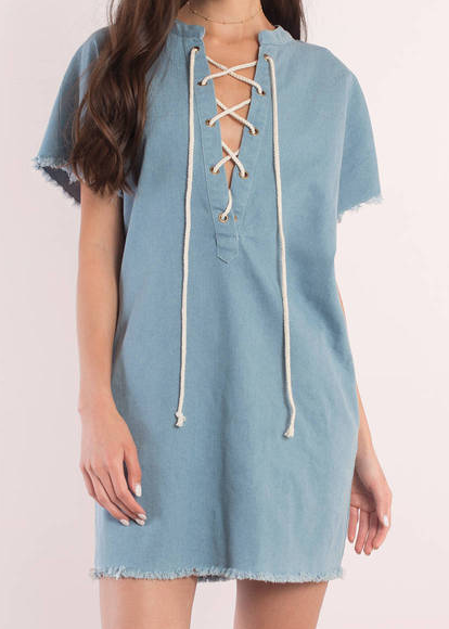 TOBI CRISTINA LIGHT WASH DENIM DAY DRESS