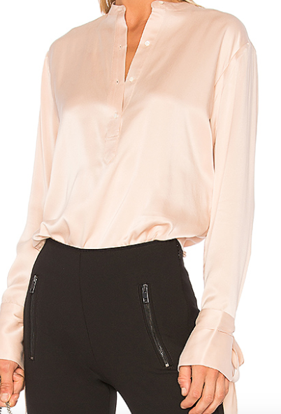 PINK BLUSH SILK BUTTON UP