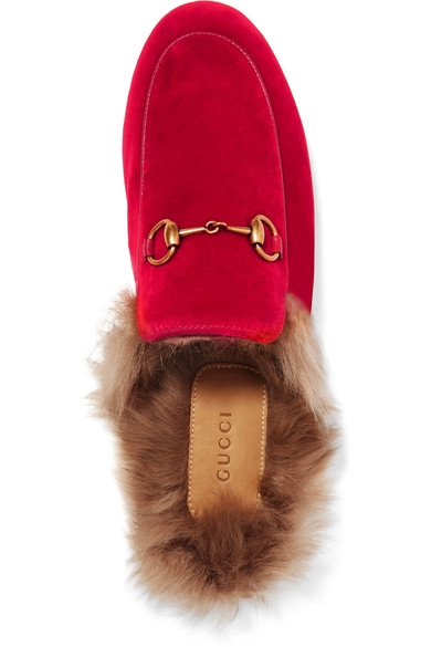 Gucci Princetown horsebit-detailed shearling-lined velvet slippers