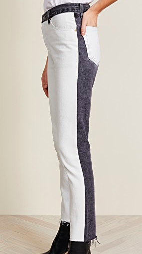 RE/DONE BLACK AND WHITE HIGH RISE JEANS