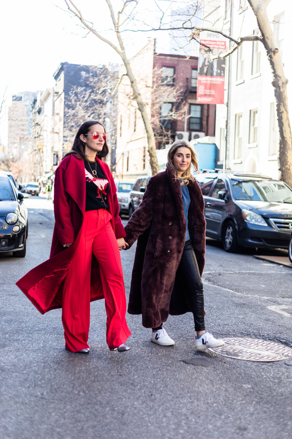 YIN 2MY YANG SOPHIE & CHARLOTTE BICKLEY BLOGGER SISTERS NYC LONG JACKET POST JANUARY 2018