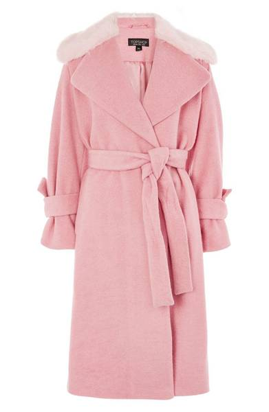 TOPSHOP FAUX FUR COLLAR BELTED COAT
