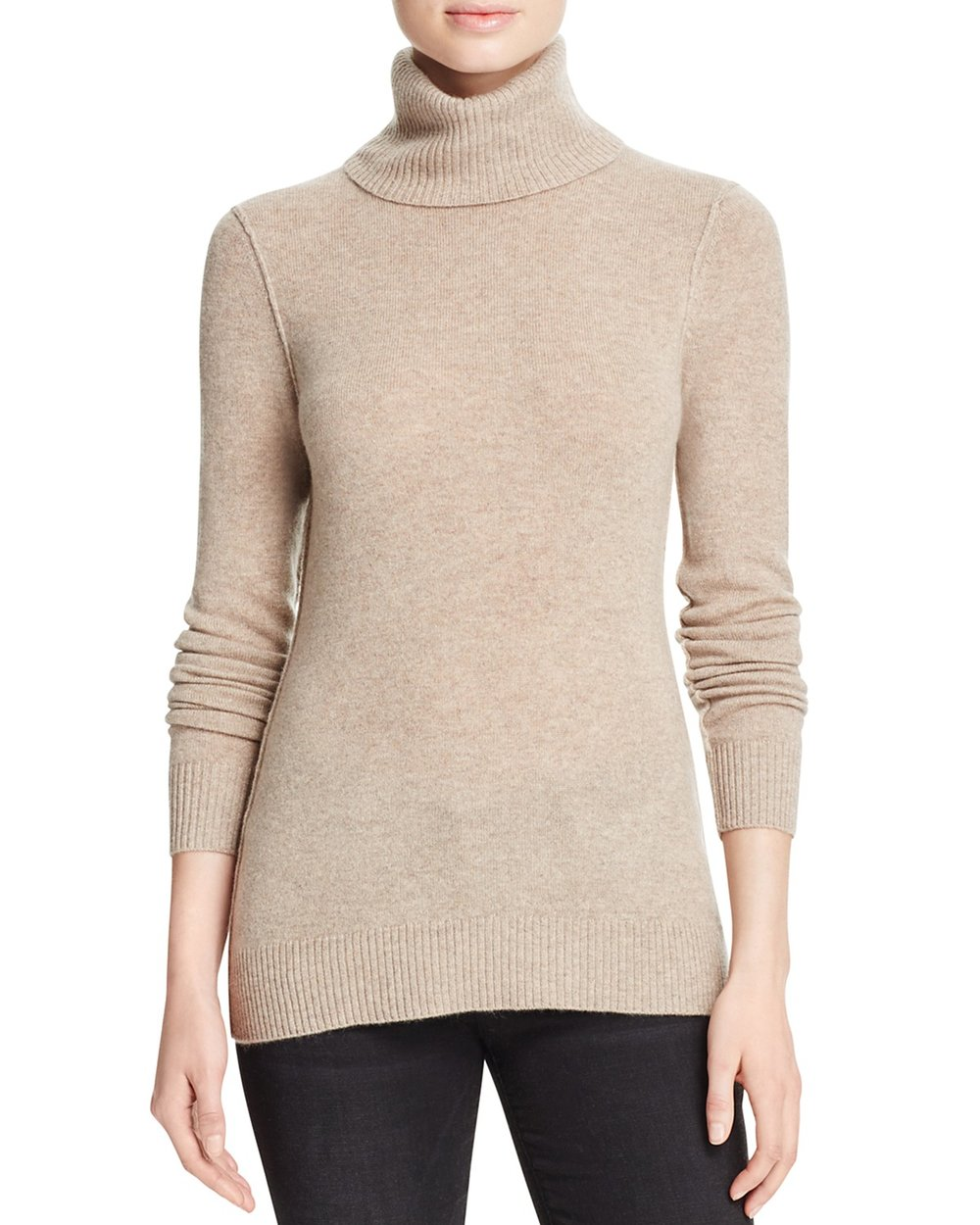 AQUA NEUTRAL CASHMERE TURTLENECK SWEATER