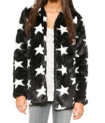 AQUA STAR PRINTED FAUX FUR COAT