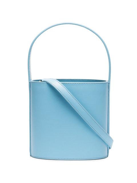 STAUD BLUE LEATHER BUCKET BAG